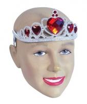 Tiara zilver met rode hartjes