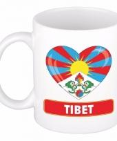 Tibetaanse vlag hart mok beker 300 ml