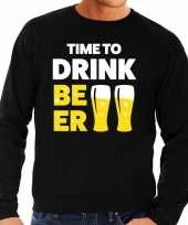 Time to drink beer tekst sweater zwart voor heren