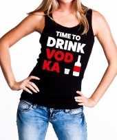Time to drink vodka tekst tanktop mouwloos shirt zwart dames