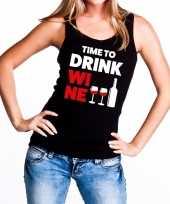 Time to drink wine tekst tanktop mouwloos shirt zwart dames