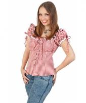 Tiroler shirt rood met wit dames