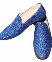 Toppers blauwe glitter pailletten disco instap schoenen voor heren