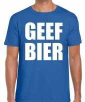 Toppers geef bier heren t-shirt blauw