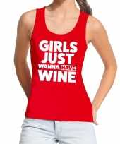 Toppers girls just wanna have wine tanktop mouwloos shirt rood dames