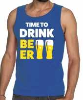 Toppers time to drink beer tekst tanktop mouwloos shirt blauw