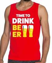 Toppers time to drink beer tekst tanktop mouwloos shirt rood