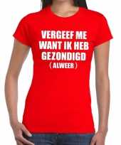 Toppers vergeef me tekst t-shirt rood dames