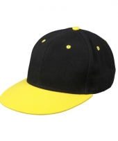Trendy baseball cap zwart geel