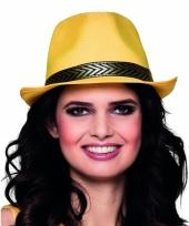 Trilby hoed geel voor volwassenen