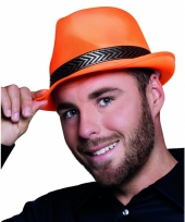 Trilby hoed oranje voor volwassenen