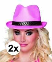 Trilby hoed roze 2 stuks voor volwassenen