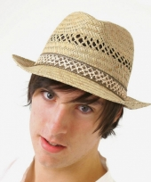 Trilby hoed van stro voor heren