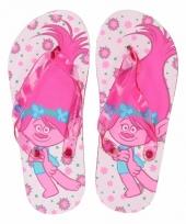 Trolls kinder slippers wit roze