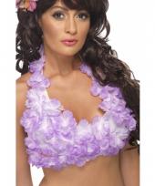 Tropische top met paarse bloemen