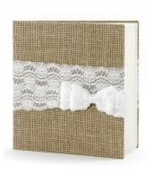 Trouwerij gastenboeken jute met strik