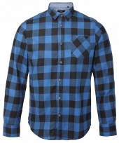 Trucker overhemd geblokt blauw zwart