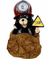 Tuindecoratie beeldje mol met bruine helm mijnwerker