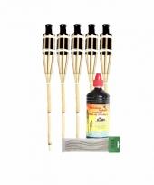 Tuinverlichting 5x oliefakkels met lont 60 cm en olie 1 l