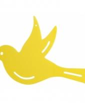 Tuinversiering deco vogel geel 22 cm