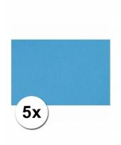 Turquoise blauw knutsel karton a4 5 stuks