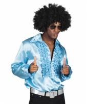 Turquoise disco blouse voor heren