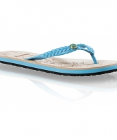 Turquoise zomer slippers voor dames