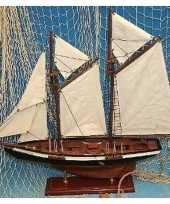 Tweemaster miniatuur model schip van hout 50 cm