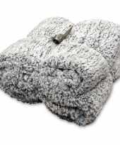 Tweepersoons bedsprei plaid knut antraciet grijs 150 x 200 cm nepbont zachte stof