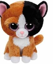 Ty beanie knuffeltje bruin zwarte kat met kraalogen 15 cm