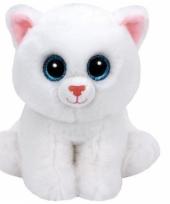 Ty beanie knuffeltje witte kat met kraalogen 15 cm