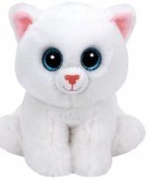Ty beanie knuffeltje witte kat met kraalogen 33 cm