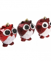 Uil kerstballen rood 8 5 cm