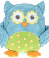 Uilen knuffel blauw voor jongens 28 cm
