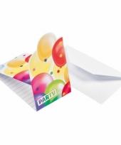 Uitnodigingen met feestelijke ballonnenopdruk karton 8st