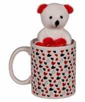 Valentijn cadeau witte beker met beertje