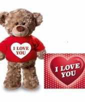 Valentijnskaart en knuffelbeer 24 cm met i love you rood shirt
