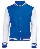 Varsity jacket blauw wit voor dames