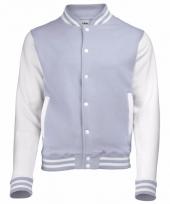 Varsity jacket grijs wit voor dames