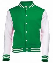 Varsity jacket groen wit voor heren