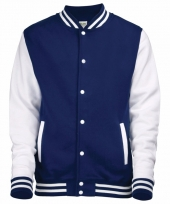 Varsity jacket navy wit voor heren