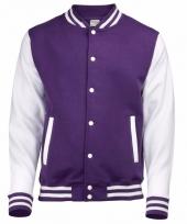 Varsity jacket paars wit voor heren