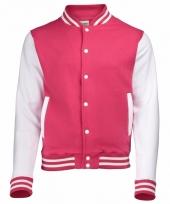Varsity jacket roze wit voor dames