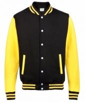 Varsity jacket zwart geel voor heren