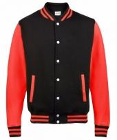 Varsity jacket zwart rood voor heren