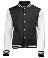 Varsity jacket zwart wit voor dames