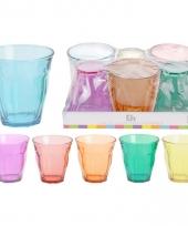 Veel kleurige hoekige waterglazen set 6 stuks