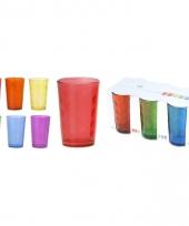 Veel kleurige ronde water of fris glazen set 6 stuks