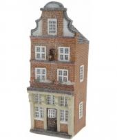 Vensterbank kersthuisje bruin amsterdams huisje 16 cm 10091483