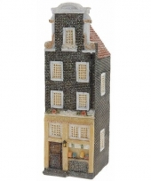 Vensterbank kersthuisje zwart amsterdams huisje 16 cm 10091482
